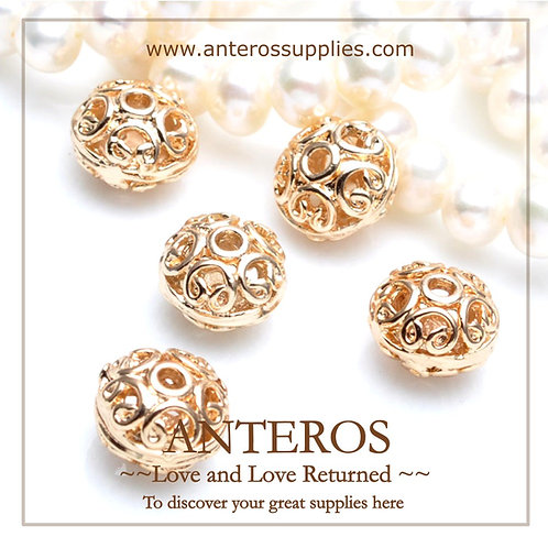 20PC Gold Medium Oval Pattern Hollow Beads/Spacers/Flat Bicone(GFB0103p)