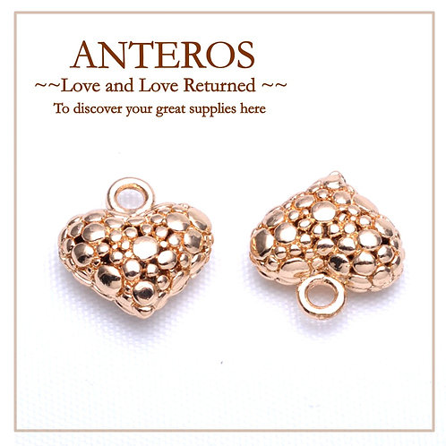 50PC Gold 14mm Dotted Pattern Heart Charms/Pendants (GFPC0133B)