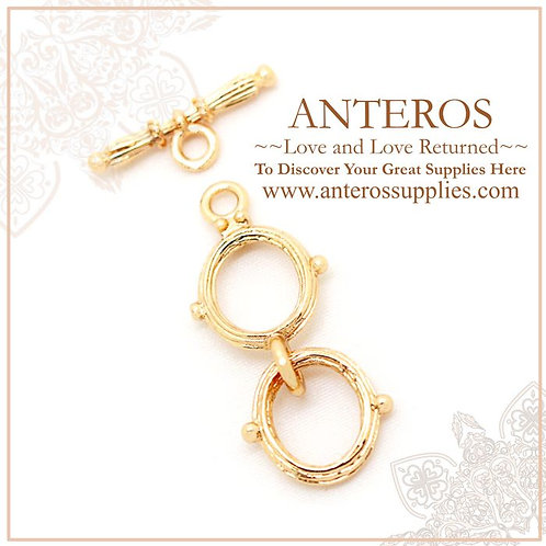 4 set Gold plated double O, OT buckle, extended toggle clasp, necklace clasp,O:12mmx19mm, T:17mmx2mm,GF Brass(GFF0053)