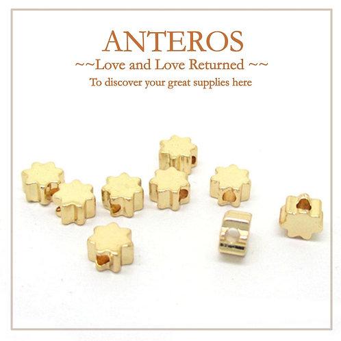 50/100PC Gold Tiny Heptagonal Star Beads,5mmx3mm,GF Brass(GFB0021BQ)
