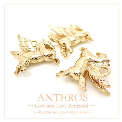 6PC Gold Medium Winged Horse Pegasus Charms/Pendant,16mmx15mm(GFPC0062)