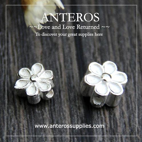 2PC 925 Sterling Silver Plain Silver 6 Leaves Flower Beads,6mm/7mm (SB0030)