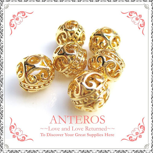 2PC Gold Cubic/Near Sphere Beads,8mm/10mm(GFB0036)