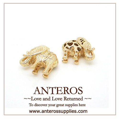 2PC Gold Elephant Charms/Pendant,16mm*17mm(GFPC0025)