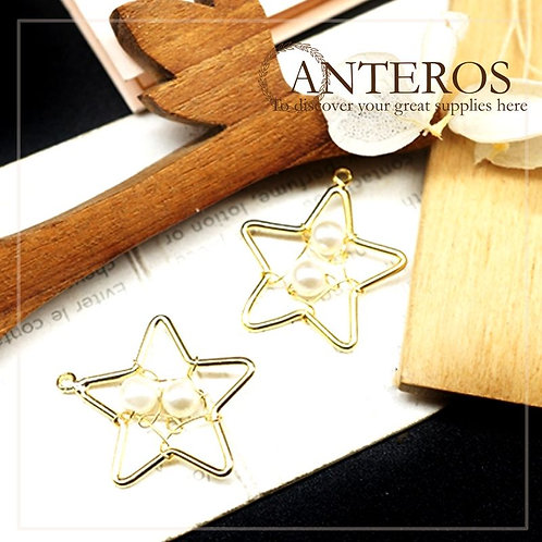 2 pcs Gold Filled Star Frame Dream Catcher Charms,20x22mm(GFPC0232)