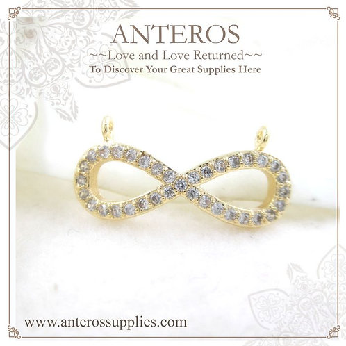 2 PCS Gold Plated Micro Pave Infinity Love Knot Links/Connectors(GFPC0079)