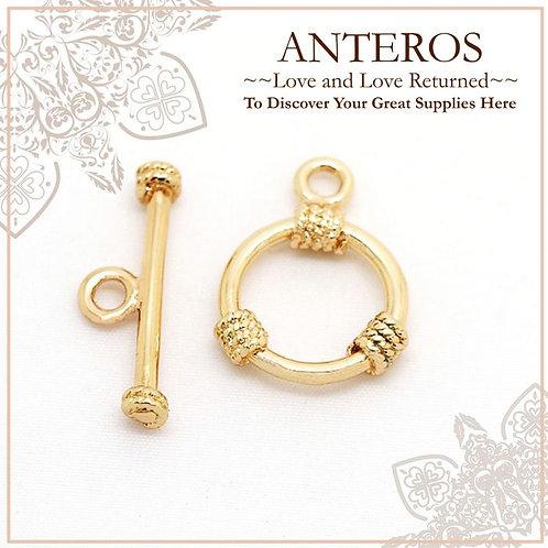4 set Gold plated 3 Knots OT buckle, O Toggle clasp, necklace, bracelet clasp,O:15mmx20mm,T:22mmx2mm,GF Brass(GFF0054)