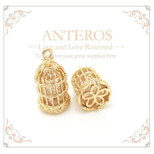 2 PCS Gold Filled Birdcage Charm/Pendant With Zircon Beads,Handmade(GFPC0004)
