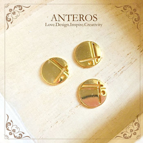 Gold Filled Circle with Horrow L Cut Disc Charms,Gold Round Metal Blanks, Gold Round Disc , Gold Circle Disc,