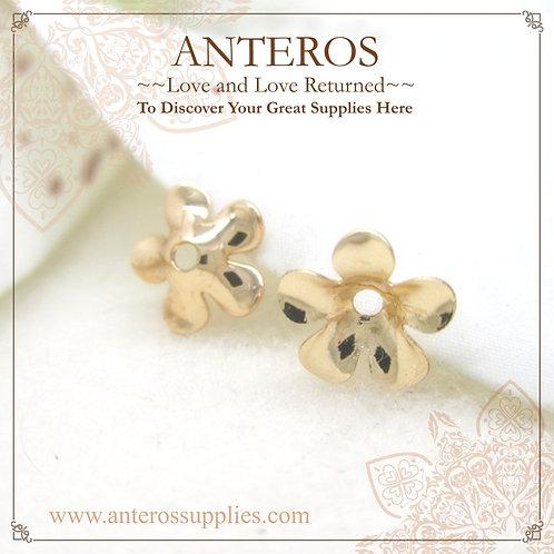 50/100/200PC Gold Tiny Thin Hibiscus Flower Bead Caps,5mm(GFBC0054B)