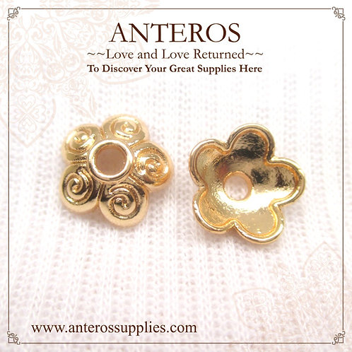 6PC Gold 10mm Hibiscus 5 Spiral Leaves Bead caps/Tassel Caps(GFBC0048)