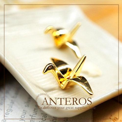 4 pcs Gold Small Thousand Cranes Pendants,18mmx14mm(GFPC0190)