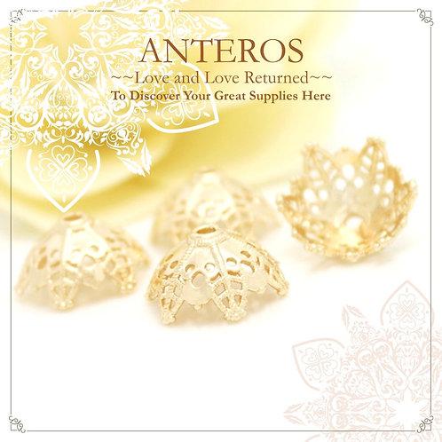 4PC Gold Large Filigree Beads Caps/Tassel Caps/Semi-Sphere(GFBC0011)