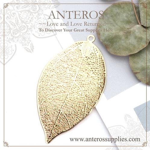 6pcs Gold Filled Huge Filigree Leaf Vein pattern Pendant,30x50mm(GFPC0251)