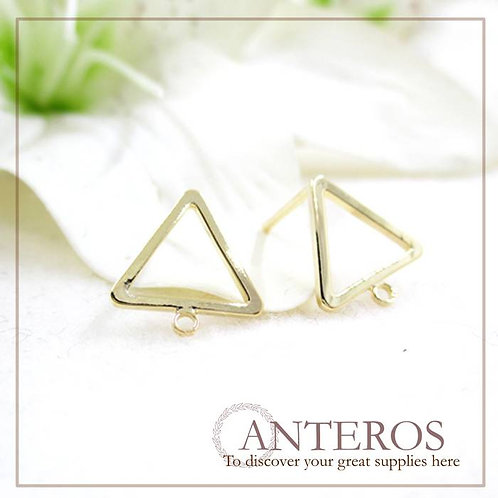 10PC/5 pairs gold Plate hollow triangle hanging ring earrings stud(GFF0092)