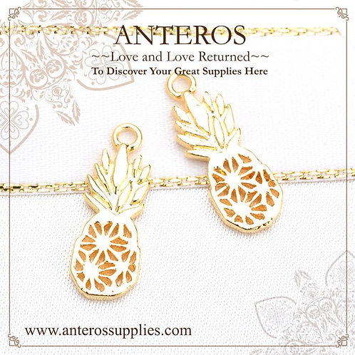 6 pcs Gold Filled Medium Fruity Pineapple Charms,16.7*6.86mm(GFPC0227)