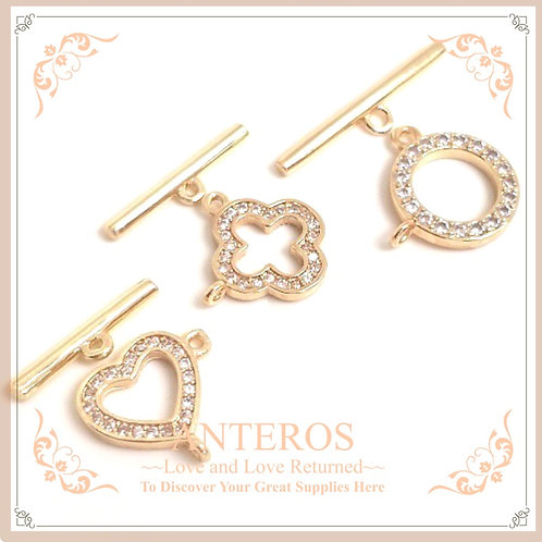 2 set Gold plated Micropave Abstract Circle/Heart/Clover OT Clasp(GFF0433)