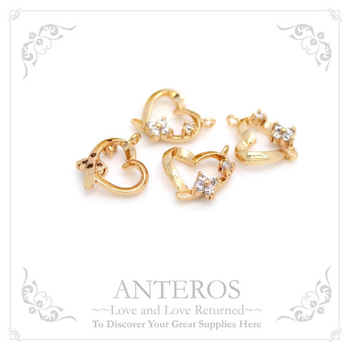 2PC Gold Plate Heart with tiny flower stone with Cubic Zirconia(GFPC0031)