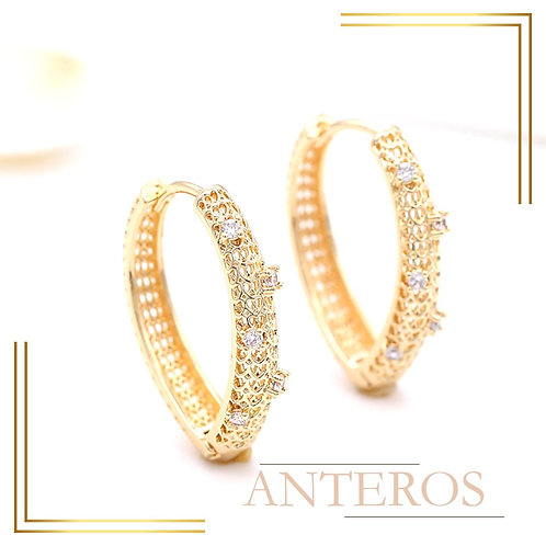 1pair Gold Vermeil AAA CZ Micropave V Shape Rope Earring Hook,30x25mm(GFE0152)