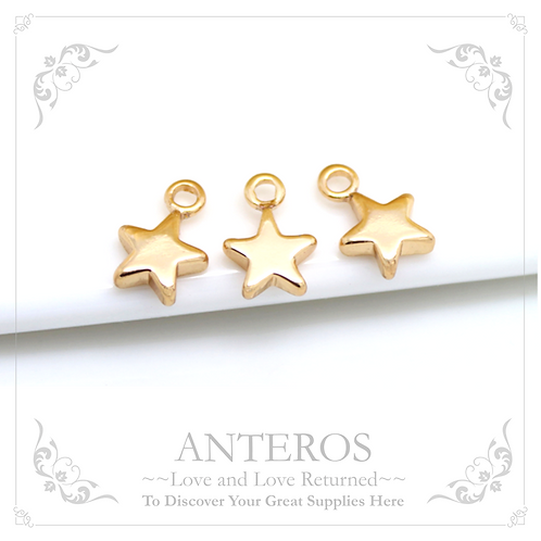 10PC Gold Tiny Pentagonal Star Charms/End Charms,7x10mm(GFPC0073)