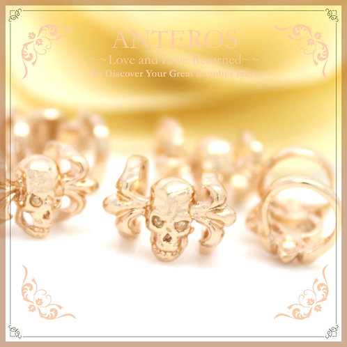 2PC Gold Large Hole Devil Skull Beads/Spacer/Charms,13mmx8.5mm(GFB0068)