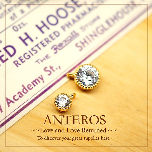 2PC Gold Plate Round AAA Cubic Zirconia Charms/Pendants,CZ Bezel(GFPC0137)
