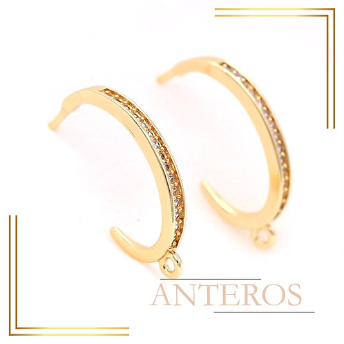 2pair Gold Vermeil AAA CZ Micropave C Earring hook close Jump ring,12mm(GFE0151)