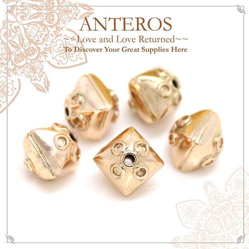 6PC Gold Medium 3D Diamond Beads/Bicone Lantern Beads,10.5mm (GFB0095)
