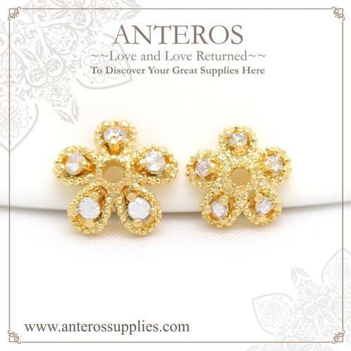 4 PCS Gold Filled 5 petal Flower Bead Caps w AAA Cubic Zirconia7mm