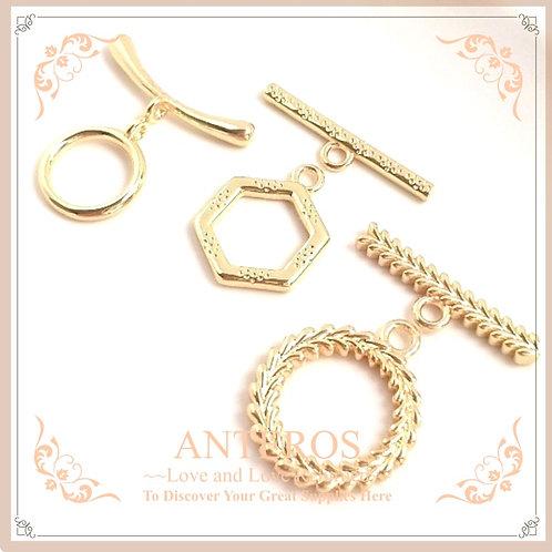 gold plated OT clasp, gold plated geometric OT clasp, bracelet OT clasp