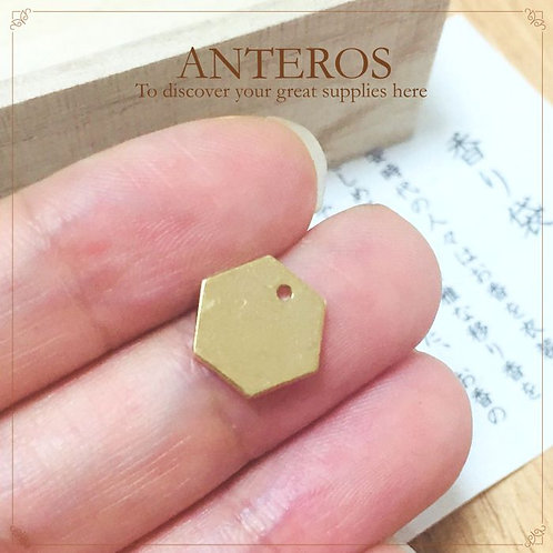 10PC Gold hexagonal stamping blanks, 10mm metal blanks(GFPC0203)