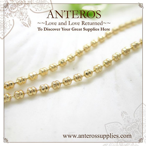 Gold plated twins beans chain, gold vermeil double beads unfinished chain, gold twins bead chain