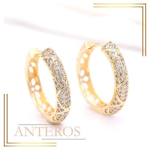 1pair Gold Vermeil brilliant AAA CZ Round X Pattern Earring Hook 30x30mm(GFE0156) Bridal Earring, Handmade Wedding Jewelry