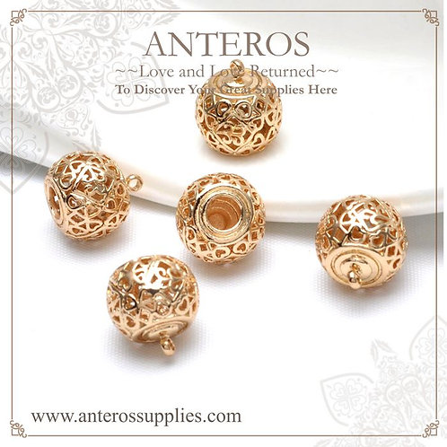 6pcs gold filled medium large circle pattern charms/pendant (GFPC0142)