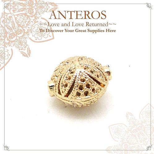 20PC Gold Large Flat Oval Beads,14x14mm(GFB0102p)