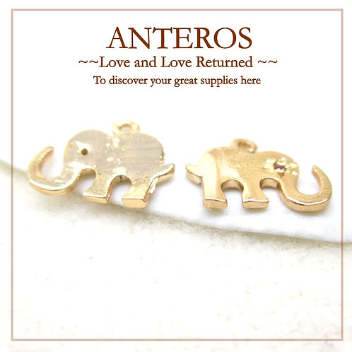 6PC Gold Plate Elephant Charms w/ AAA Cubic Zirconia,8mm*10mm(GFPC0115)