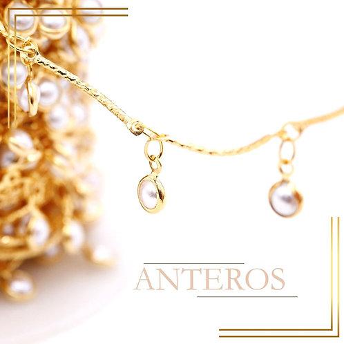 1 meter Gold Vermeil Chain with elegant pearl bezel satellite chain(GFCN0145)