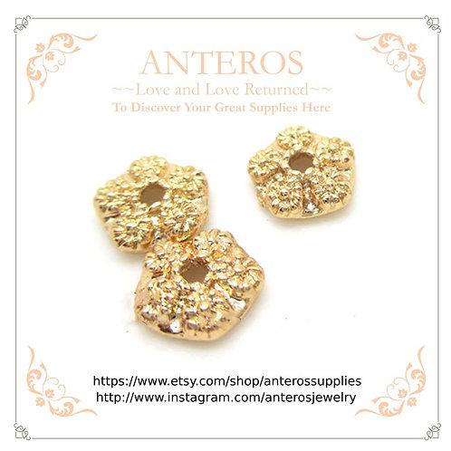 gold filled pentagonal flower bead caps, gold filled caps, gold filled star flower bead caps