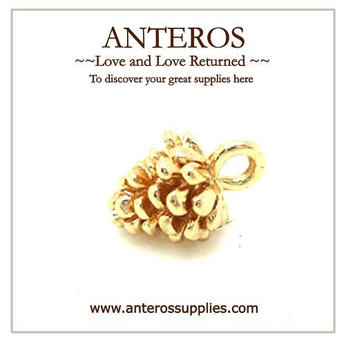 golden charms, golden pendants, gold filled components, gold filled pine cone charms