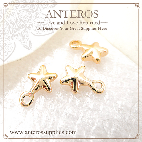 10PC Gold Tiny Small Pentagonal Convex Stars, Starfish Charms(GFPC0160)
