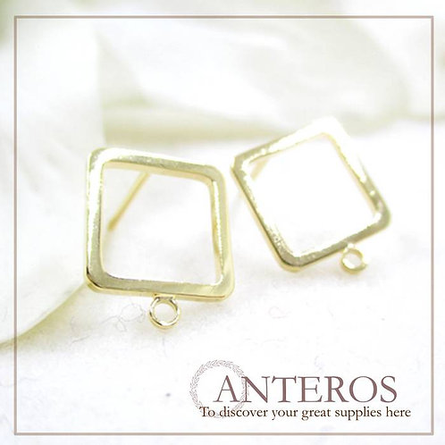 10pcs/5 pairs gold plated simple square hanging ring earrings stud(GFF0094)