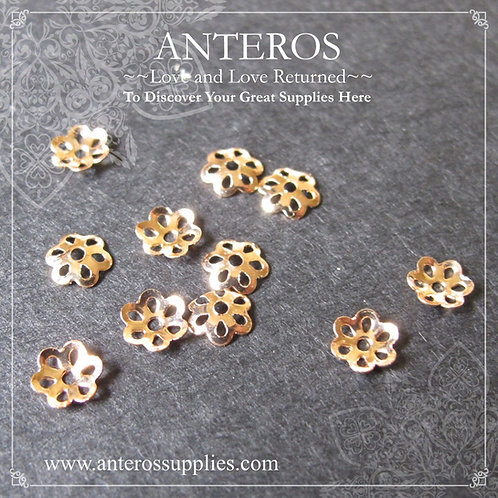 100-500 PCS Gold Filled Tiny Small Six Leaves Bead Caps,Thin Caps,5mm(GFBC0058B)