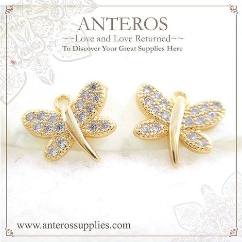 2 PCS Gold Plated Micro pave small butterfly Charms/Pendants(GFPC0075)
