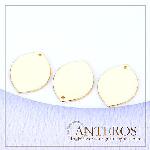 6PC Gold Large Round Oval Shiny Disc Pendant,25*48mm(GFPC0261)