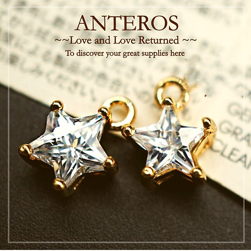 2PC Gold Plate 5 pointed Cubic Zirconia Star Charms/Pendants,8mm(GFPC0081)