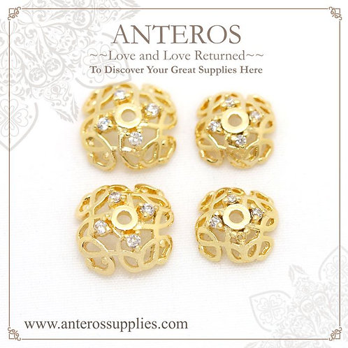 4 PCS Gold Filled round spiral flower bead caps,8mm,AAA CZ(GFBC0088), gold filled AAA Cubic Zirconia Bead caps