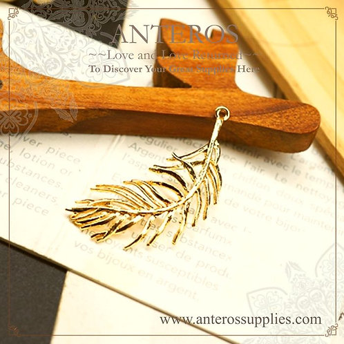 4PC Gold Medium Flying Feather Charms,Ferns Pendants,13*39mm(GFPC0153)