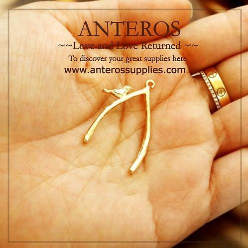 gold bird on a wish bone tree branch charms, gold filled wish bone charms, gold filled wish bone pendants