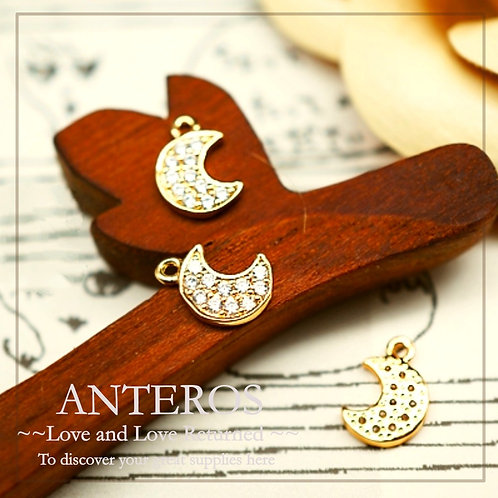 2PC Gold Plate Micropaved CZ/Tiny Small Crescent Moon Charms(GFPC0055)