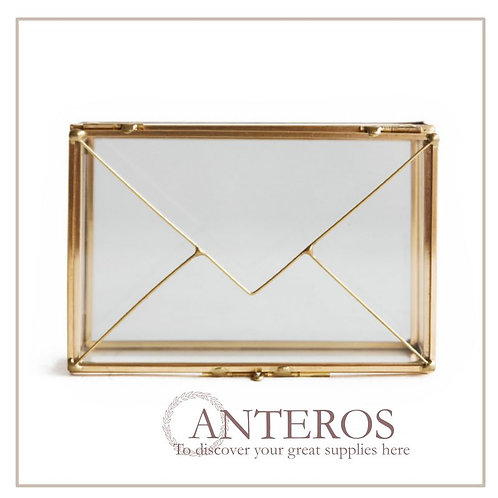 1pc Brass Letter Box, Jewelry Glass Box, Deco Glass Terrarium(JS0040)